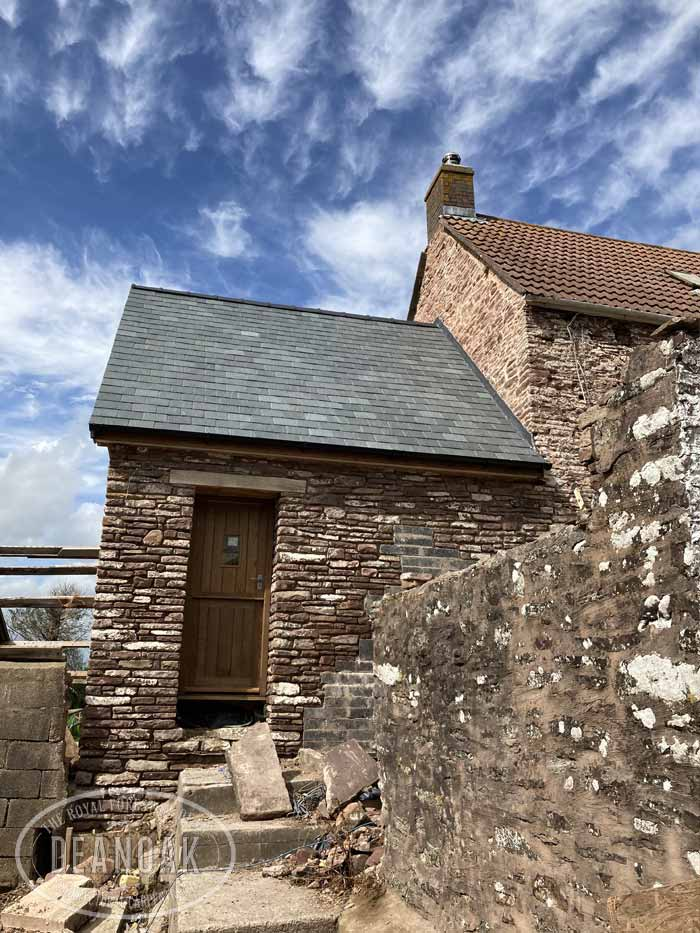 Rebuilt Stone Room with an Oak roof & glazed gable by Deanoak Limited